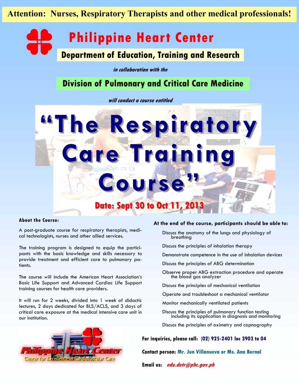 Respiratory Care Training Course